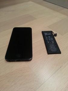 Vasket telefon med nytt batteri.